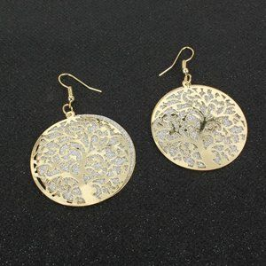 Tree of life double layer frosted earrings